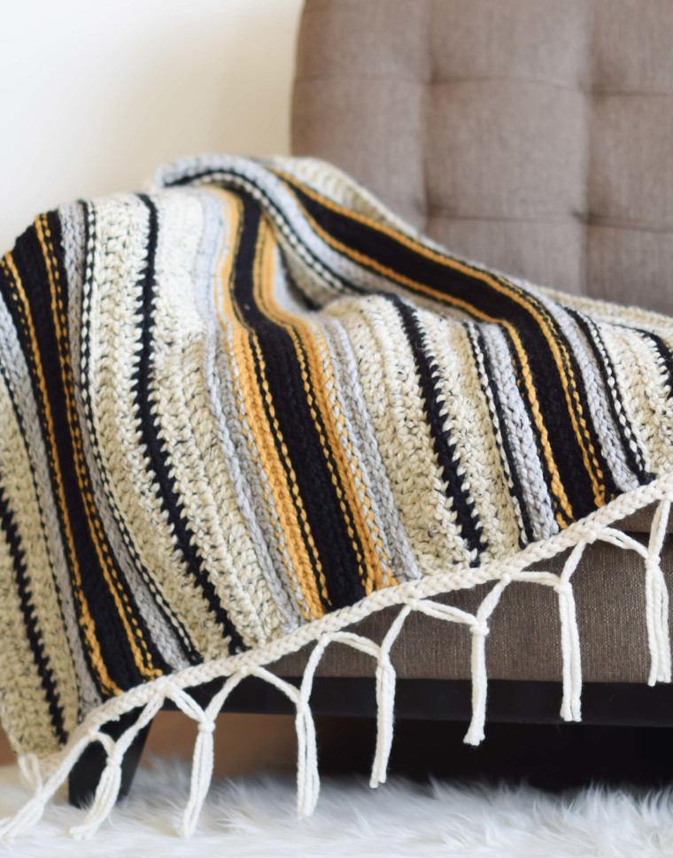 The Mexican Serape Blanket Crochet Pattern from Mama in a Stitch