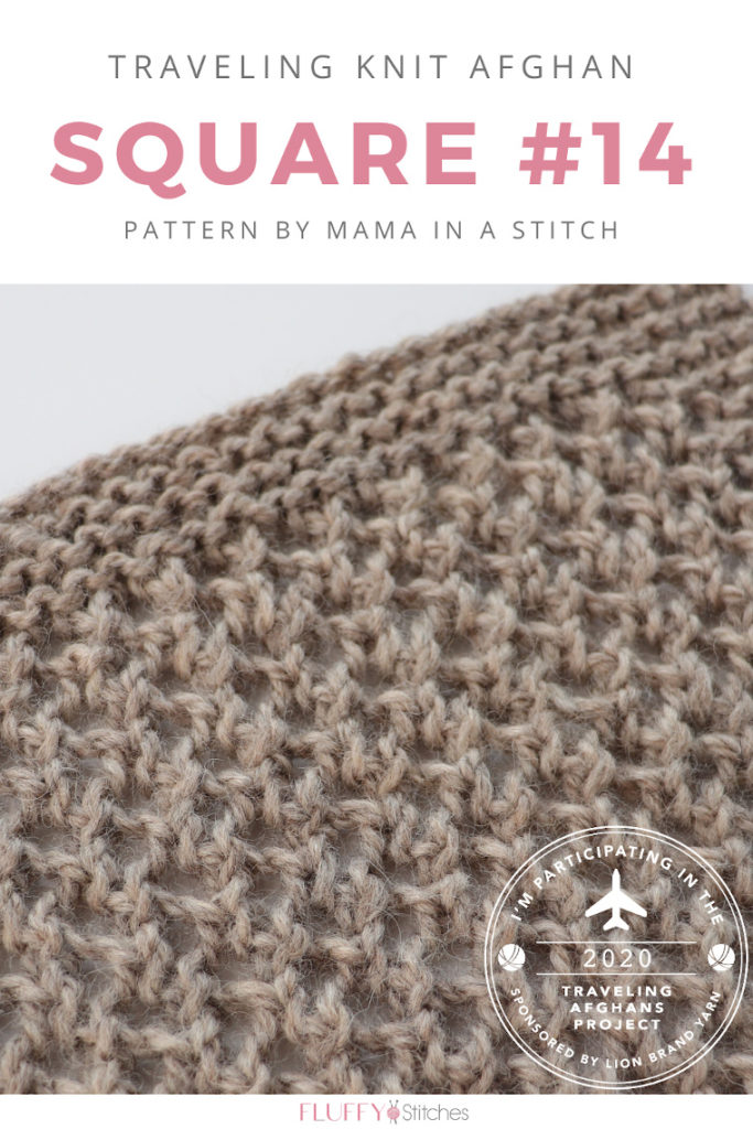 """Square Fourteen of the Traveling Knit Afghan is designed by Jessica from Mama ins a Stitch is here and it's so """"mesh-y""""! Read this post to find out more! #travelingknitafghan #travelingafghansproject #mylifeinyarn"""