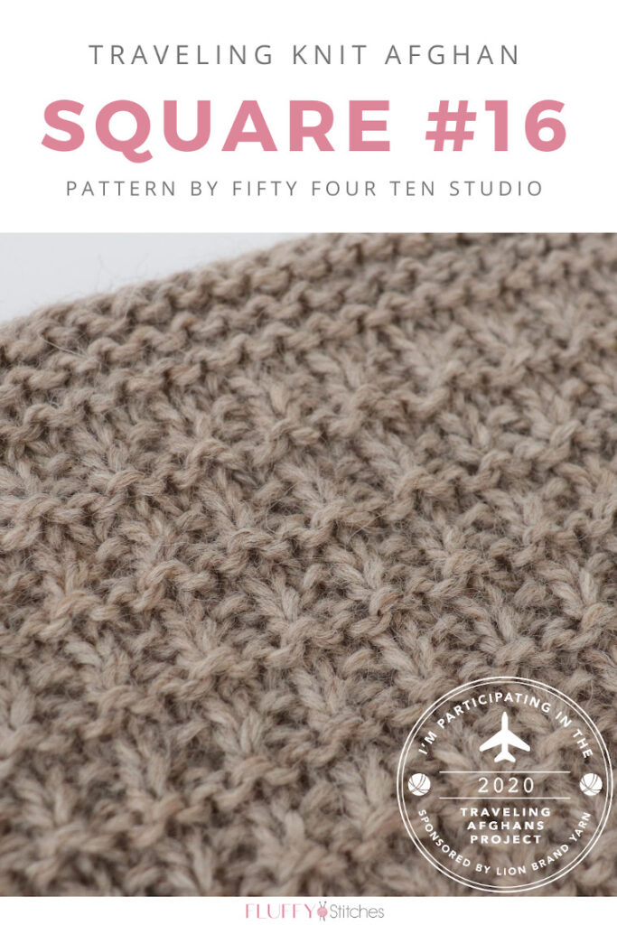 Square Sixteen of the Traveling Knit Afghan is designed by Fifty Four Ten Studio, an expert in blanket knitting patterns! Read more here! #travelingknitafghan #travelingafghansproject #mylifeinyarn