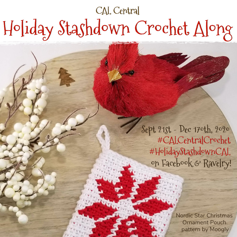 2020 Holiday Stashdown #Crochet Along with CAL Central via Underground Crafter - Join us for the sixth annual #HolidayStashdownCAL including 26 free crochet patterns by top designers for winter holiday gifts, decorations, and wrap that you can make from your #yarn stash. Chat with us in our Facebook and Ravelry groups. Enter to win one of 13 great prizes! #undergroundcrafter #calcentralcrochet #holidaycrochet #crochetgiveaway