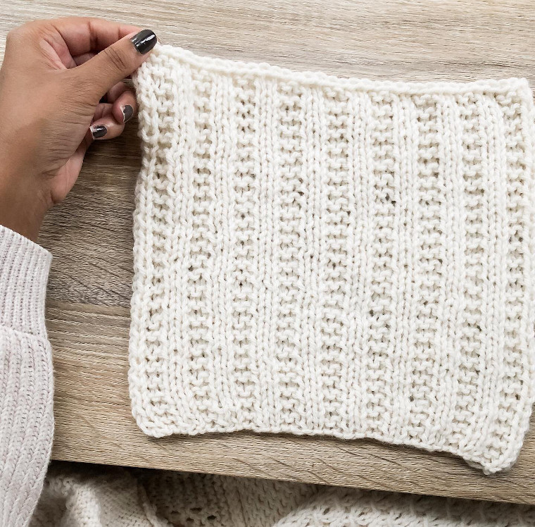 The twenty-first square of the Traveling Knit Afghan by Northknits