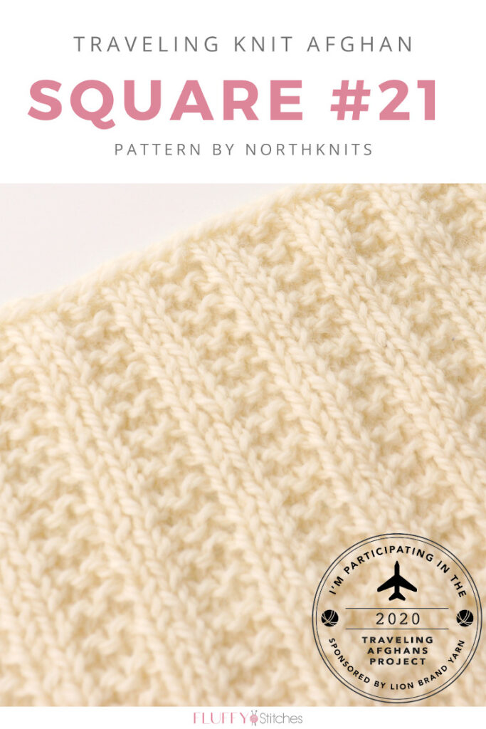 Square Twenty One of the Traveling Knit Afghan designed by Northknits is out and it has a beautiful and super easy ribbed pattern! Read more on the blog here! #travelingknitafghan #travelingafghansproject #mylifeinyarn