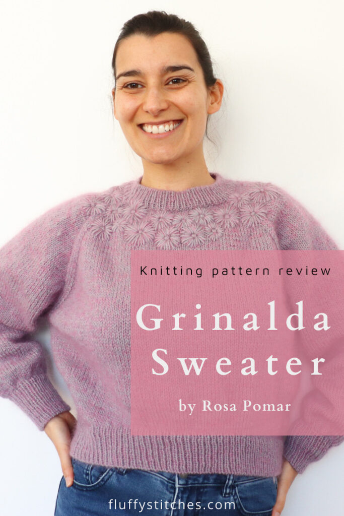 Discover all the secrets to make the knit Grinalda Sweater by Rosa Pomar, a beautiful top-down raglan sweater decorated with simple embroidered flowers, that will quickly become your staple piece for the winter! #grinaldasweater #knittedsweater #embroideredflowers