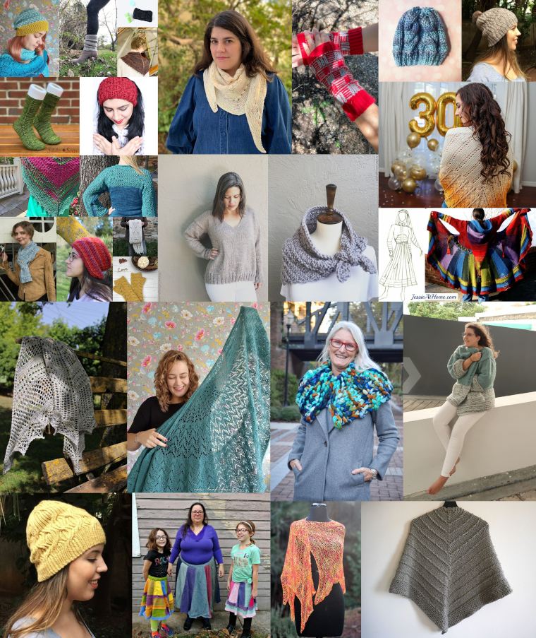 A collage of some of the patterns included in the Knit For Me Bundle