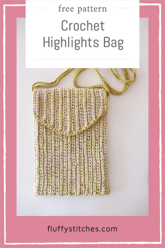 A quick and cute little bag, the Crochet Highlights Bag is my first collaboration with Rosarios 4. Find out how to get the free pattern here! #ecofriendlybag #springcrochetbag
